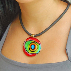 Model wearing ABSTRACT B multicolor modern murano glass necklace inspired by artist Mark ROTHKO, handmade in Italy
