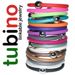 TUBINO SPORTIVO linkable BRACELETS in array of fashion colors, luxurious hypoallergenic synthetic rubber with nickel-free metal links, easily cut to size, Made in Italy