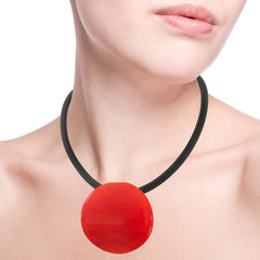 DISCO • murano glass necklace • RED | black