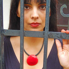 DISCO RED modern art to wear murano glass statement necklace on rubber tubino cord, handmade in Italy