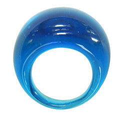 BOMBINO AQUA blue clear murano glass dome ring, one size fits most, 100% handmade in Italy