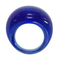 BOMBINO SAPPHIRE blue clear murano glass dome ring, one size fits most, 100% handmade in Italy