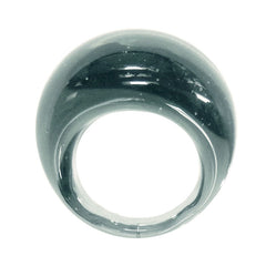 BOMBINO STEEL clear murano glass dome ring, one size fits most, 100% handmade in Italy