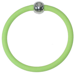 TUBINO SPORTIVO LIME green satin linkable fashion BRACELET luxurious hypoallergenic synthetic rubber with nickel-free metal links, easily cut to size, Made in Italy