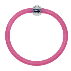 TUBINO SPORTIVO RASPBERRY pink satin linkable fashion BRACELET luxurious hypoallergenic synthetic rubber with nickel-free metal links, easily cut to size, Made in Italy