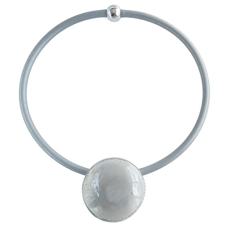 LUNA • Murano Glass Necklace •  GREY WHITE GOLD-LEAF | silver