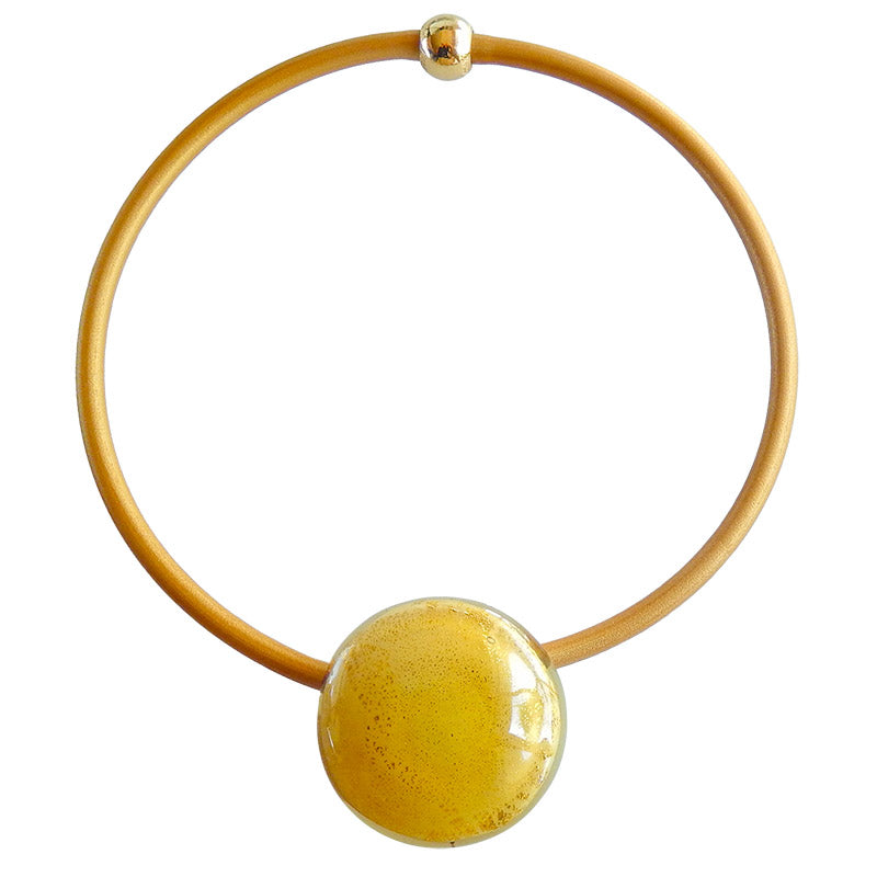 LUNA • Murano Glass Necklace •  IVORY GOLD-LEAF | gold