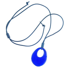 OVALE lungo • Murano Glass Lariat Necklace • COBALT