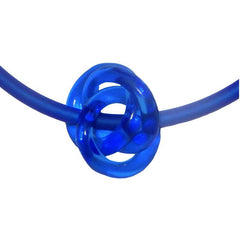 TRIO SAPPHIRE blue modern art to wear murano glass knot statement necklace on rubber tubino cord, handmade in Italy