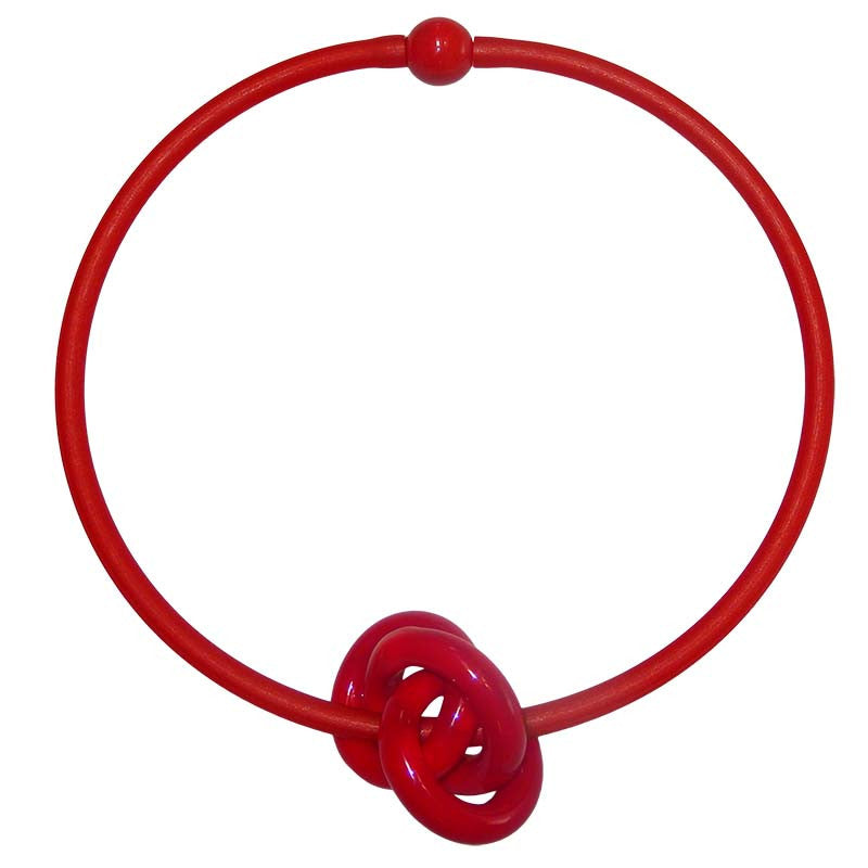 TRIO RED modern art to wear murano glass knot statement necklace on rubber tubino cord, handmade in Italy