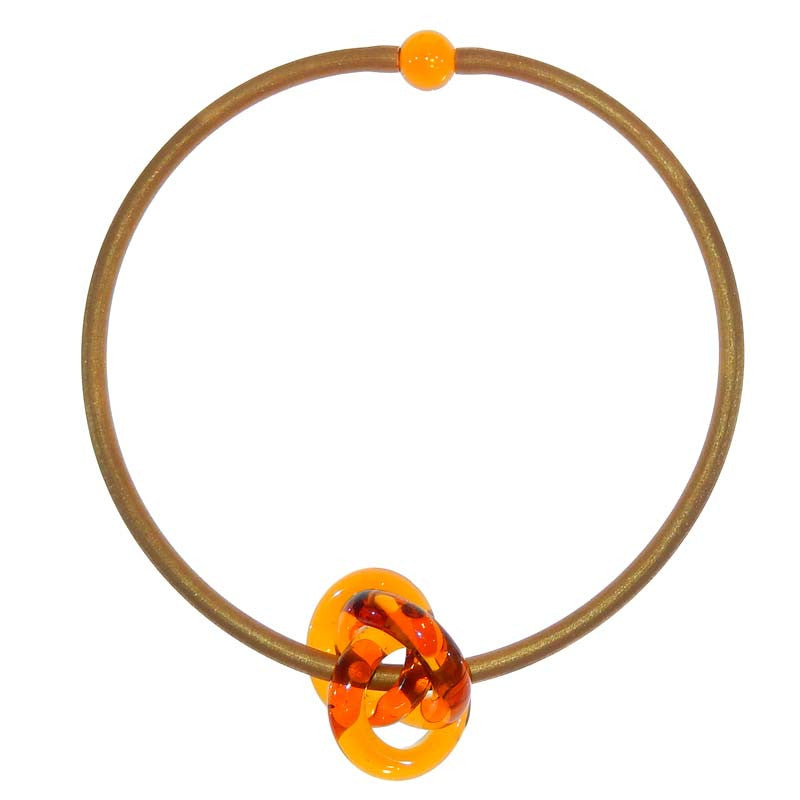 TRIO AMBER gold modern art to wear murano glass knot statement necklace on rubber tubino cord, handmade in Italy