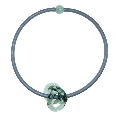 TRIO • KNOT murano glass necklace  • STEEL | silver