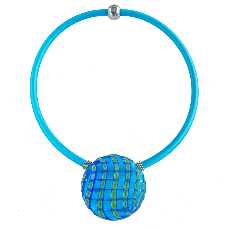 "VENEZIA2 AQUA blue green multifaceted engraved millefiori blown glass ""battuto"" necklace modern art to wear murano glass reversible statement necklace on rubber tubino cord, handmade in Italy"