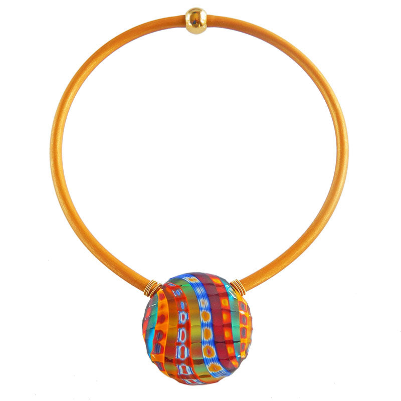 "VENEZIA2 MULTI multifaceted engraved millefiori blown glass ""battuto"" necklace modern art to wear murano glass reversible statement necklace on rubber tubino cord, handmade in Italy"