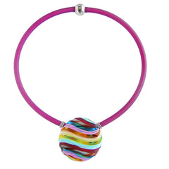 "VENEZIA2 RAINBOW multifaceted engraved millefiori blown glass ""battuto"" necklace modern art to wear murano glass reversible statement necklace on rubber tubino cord, handmade in Italy"