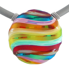 "VENEZIA 2 • Millefiori ""Battuto"" Murano Glass Necklace • RAINBOW"