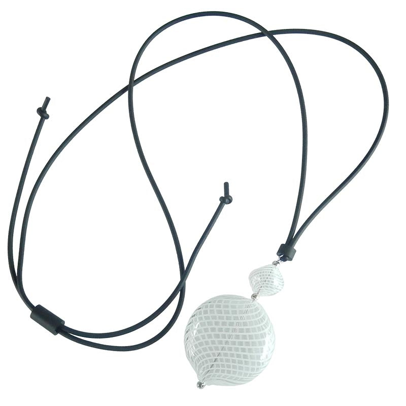 DUO lungo • Murano Glass Bolo Lariat Necklace • WHITE FILIGRANA