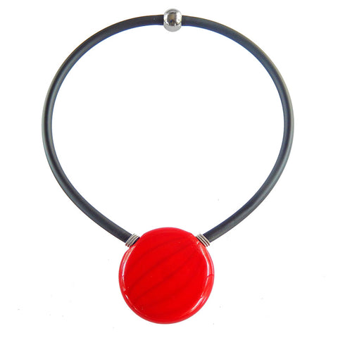UNO • blown murano glass necklace • RED | black