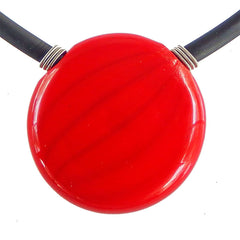 UNO RED modern classic art to wear blown murano glass statement necklace on rubber tubino cord, handmade in Italy