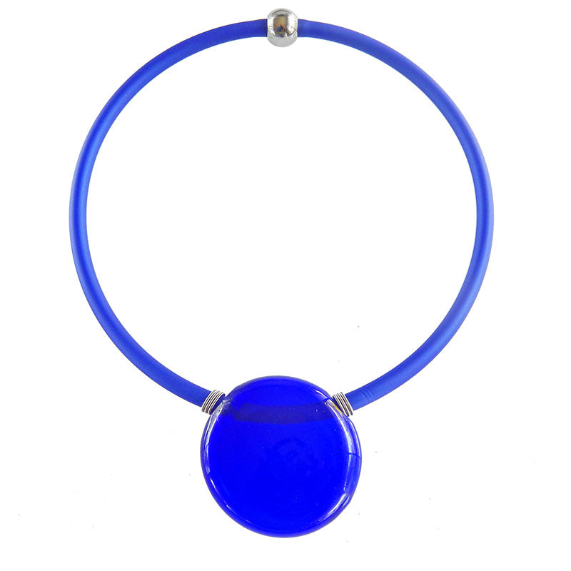 UNO COBALT blue modern classic art to wear blown murano glass statement necklace on rubber tubino cord, handmade in Italy