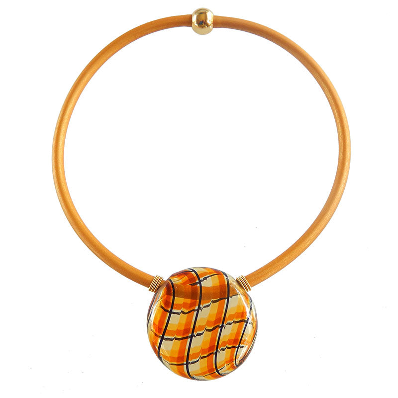 UNO AMBER PLAID tortoise modern classic art to wear blown murano glass statement necklace on rubber tubino cord, handmade in Italy