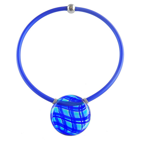UNO • blown murano glass necklace • BLUE PLAID | cobalt