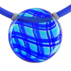 UNO BLUE PLAID modern classic art to wear blown murano glass statement necklace on rubber tubino cord, handmade in Italy