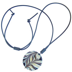 MARMO XL BLACK marble lungo modern art to wear murano glass long adjustable lariat necklace, handmade in Italy