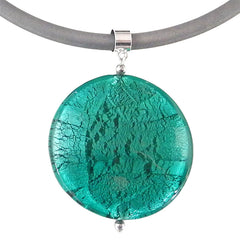 SPARKLE XL • Murano Glass Necklace • TEAL silver-leaf | silver