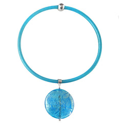SPARKLE XL • Murano Glass Necklace • AQUA silver-leaf | aqua