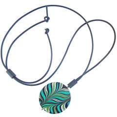 MARMO XL GREEN marble lungo modern art to wear murano glass long adjustable lariat necklace, handmade in Italy