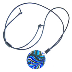 MARMO XL BLUE marble lungo modern art to wear murano glass long adjustable lariat necklace, handmade in Italy