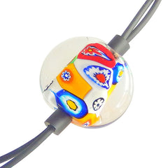 MILLEFIORI CRYSTAL lungo multicolor modern art to wear murano glass bolo lariat necklace, handmade in Italy