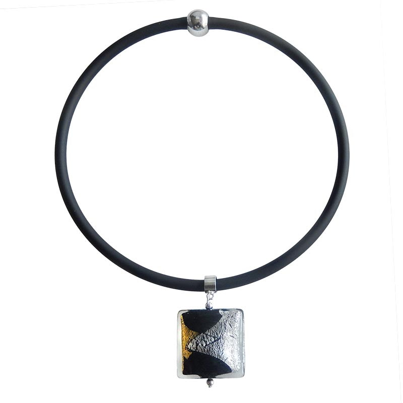 GLITTER SQUARE BLACK art to wear modern murano glass necklace, 24kt gold leaf and 925 silver leaf pendant on black tubino, handmade in Italy