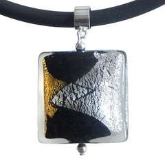 GLITTER SQUARE BLACK art to wear modern murano glass necklace, 24kt gold leaf and 925 silver leaf pendant closeup, handmade in Italy