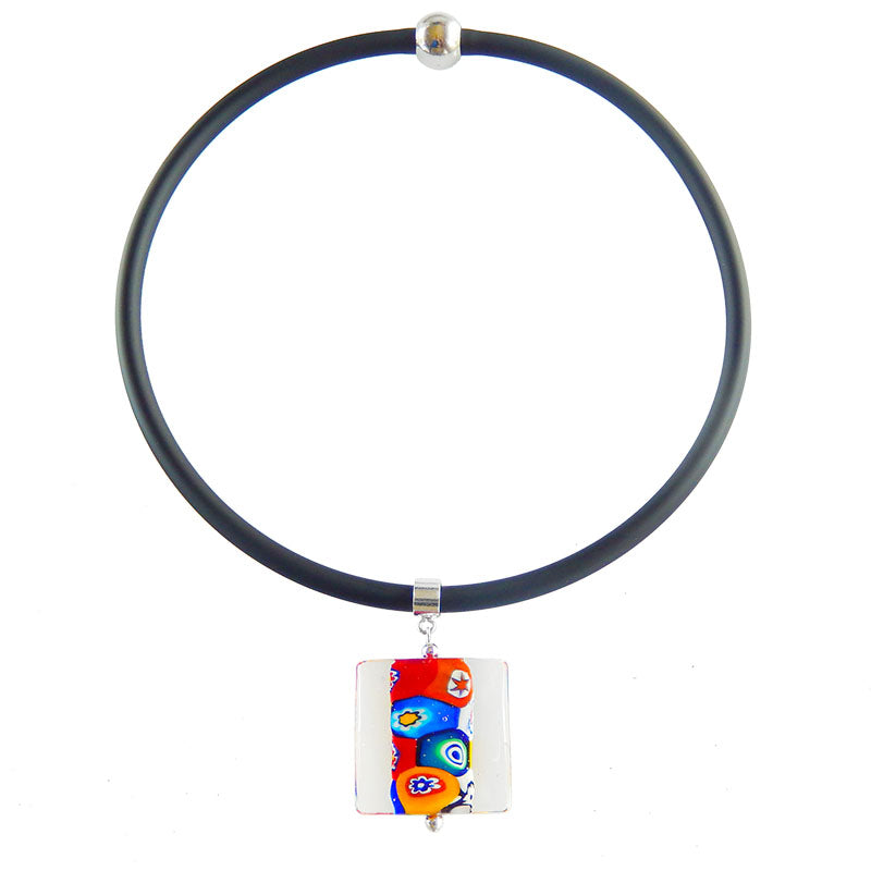 MILLEFIORI CRYSTAL SQUARE multicolor modern art to wear murano glass pendant on rubber tubino necklace, handmade in Italy