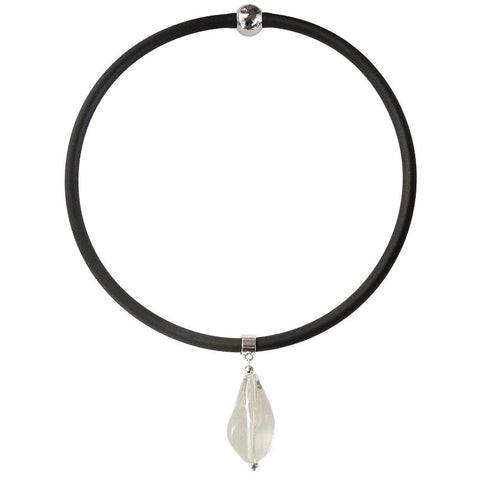 PEBBLE • murano glass necklace • CRYSTAL | black