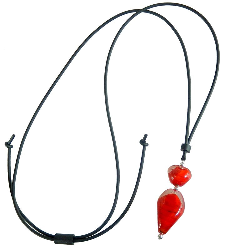 PEBBLES 2 lungo • Murano Glass Bolo Lariat Necklace • CHERRY