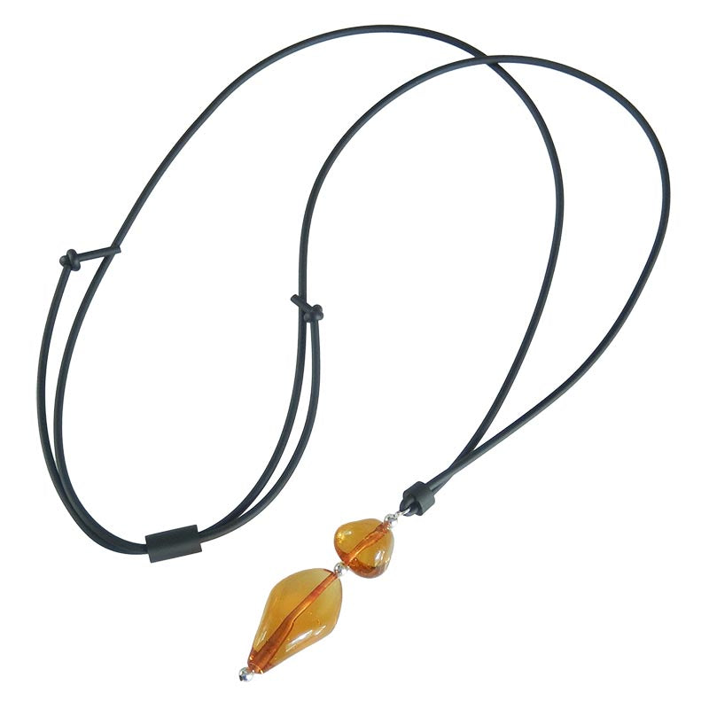 PEBBLES 2 lungo • Murano Glass Bolo Lariat Necklace • AMBER