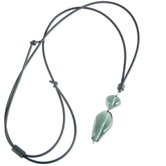 PEBBLES 2 lungo • Murano Glass Bolo Lariat Necklace • STEEL
