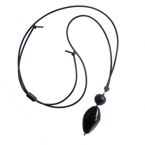 PEBBLE XL lungo • Murano Glass Lariat Necklace • BLACK CRYSTAL