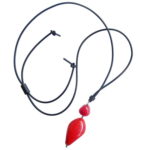 PEBBLE XL lungo • Murano Glass Lariat Necklace • CHERRY