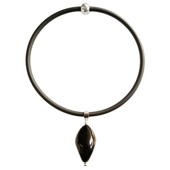 PEBBLE XL • Murano Glass Necklace • BLACK CRYSTAL