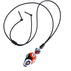 MILLEFIORI PEBBLE XL lungo multicolor art to wear modern murano glass necklace on long adjustable rubber cord, handmade in Italy