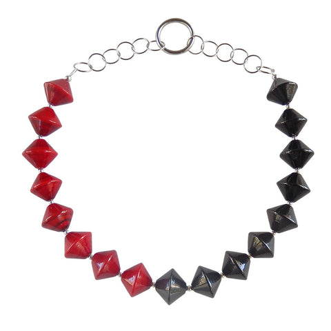 BI-CONO • murano glass necklace • RED | BLACK