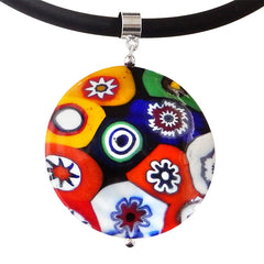 MILLEFIORI XL multicolor modern art to wear murano glass statement necklace on rubber tubino cord, handmade in Italy
