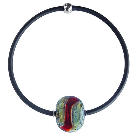 STONE • murano glass necklace • RED MIX | black