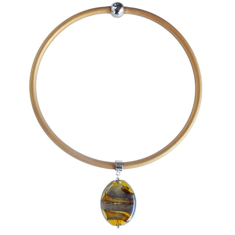 STONE2 • murano glass necklace • AMBER MIX | gold