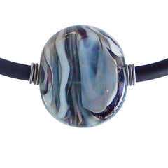 MARMO • murano glass necklace • STEEL MIX | black