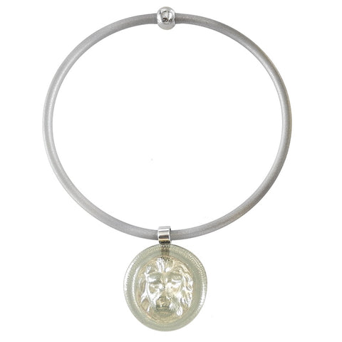 LION • Murano Glass Necklace • Silver-Leaf
